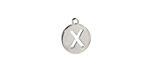 """Stainless Steel Initial Coin Charm """"X"""" 10x12mm"""
