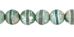 Tibetan (Dzi) Agate Green-White Banded Faceted Round 10mm