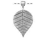 Greek Pewter Linear Leaf Drop 21x39mm