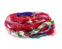 Mixed Recycled 100% Silk Sari Yarn w/ Ribbon
