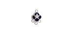 Jet Enamel Stainless Steel Star Chandelier 1-3 Link 11x7mm