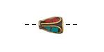 Tibetan Brass Cone Bead w/ Turquoise & Coral Drop Mosaic 12x8mm