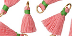 Bubblegum Pink w/ Green Binding & Jump Ring Thread Tassel 18mm