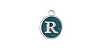 "Peacock Green Enamel Silver Finish Initial Coin Charm ""R"" 12x14mm"
