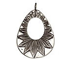 Saki White Bronze Radiant Open Drop Pendant 27x40mm