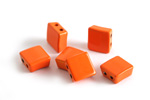Orange Enamel 2-Hole Tile Square Bead 8mm