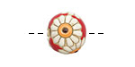 Golem Studio Daisies on Red Carved Ceramic Round Bead 12mm