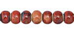 Matador Red w/ Speckles Banded Porcelain Tumbled Rondelle 7x10mm