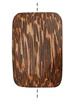 Patikan Wood Faceted Rectangle Pendant 50x34mm