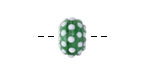 Grace Lampwork Polka Dots on Green Rondelle 9x14mm