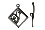 Gunmetal Diamond w/ Swirls Toggle Clasp 28x24mm, 29mm bar