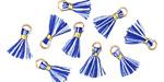 Blue Skies w/ Gold Binding & Jump Ring Tiny Thread Tassel 12mm