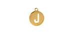"""Gold (plated) Stainless Steel Initial Coin Charm """"J"""" 10x12mm"""