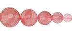 Cherry Quartz Faceted Graduated Round 6-14mm