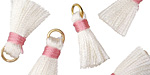 White w/ Pink Binding & Jump Ring Thread Tassel 17mm