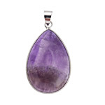 Dogtooth Amethyst Teardrop Silver Wrapped w/ Bail Pendant 22x41mm