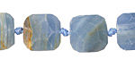 Blue Calcite Faceted Flat Slab 11-15x12-15mm