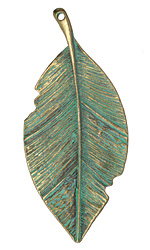 Patina Green Brass (plated) Tattered Leaf Pendant 36x81mm
