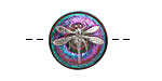 Czech Glass Emerald Green, Blue & Pink w/ Metallic Silver Dragonfly Button 18mm