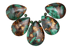 Malachite & Bronzite Teardrop Pendant Set 22-25x30-35mm