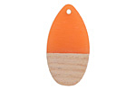 Wood & Tangerine Resin Teardrop Focal 16x30mm
