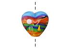 Grace Lampwork Hawaii Beach Sunset Heart 19-20mm