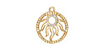 Satin Gold Finish Pave CZ Openwork Radiant Sun Focal 15x18mm