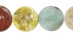 Matte Multi Gemstone (Sodalite, Lava, Red Jasper, Aventurine) Rough Faced Coin 18mm