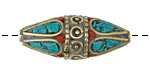 Tibetan Brass Banded Rice Bead w/ Coral & Turquoise Mosaic Petals 36-38x14-15mm