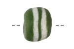 African Powder Glass Green w/ White Bands Large Round Bead 22-23mm