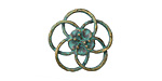 Zola Elements Patina Green Brass Open Hibiscus 20mm