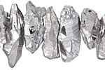 Metallic Silver Quartz Shard Drop 7-18x14-45mm