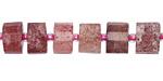 Strawberry Quartz Faceted Disc 5-8x9-11mm