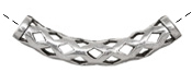 Antique Silver (plated) Open Lattice Curved Tube 51x8mm