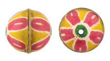 Hand Painted Pink Daisy Leather Round Bead 26-29mm