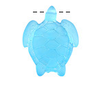Pacific Blue Recycled Glass Large Sea Turtle Pendant 27x35mm