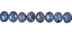 Black Diamond w/ Blue Luster Crystal Faceted Rondelle 8mm