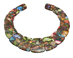 "Mardi Gras (Mixed Impression) Jasper 12"" Collar Pendant Set 24x17-29x36mm"