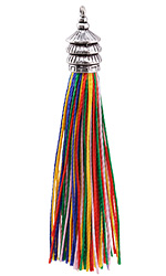 Zola Elements Rainbow Thread Tassel w/ Antique Silver Finish Pagoda Tassel Cap 12x90mm