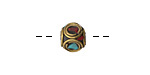 Tibetan Brass Cube Bead w/ Double Ringed Coral & Turquoise Mosaic 8-9mm