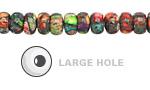 Mardi Gras (Mixed Impression) Jasper Large Hole Rondelle 8mm