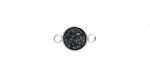 Metallic Jet Crystal Druzy Coin Link in Silver Finish Bezel 14x9mm
