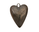 Earthenwood Studio Ceramic Metallic Pewter Heart Pendant 22-23x31mm