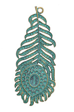 Zola Elements Patina Green Brass Peacock Feather Pendant 33x79mm