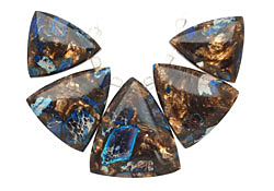 Midnight Blue Impression Jasper & Bronzite Triangle Pendant Set 20-30mm