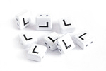 "White Enamel 2-Hole Tile Square Bead w/ Letter ""L"" 8mm"