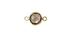 Smoky Quartz Faceted Coin Link in Gold Vermeil 15x9mm