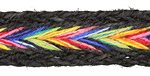 Black w/ Rainbow Chevron Hemp Ribbon 15mm