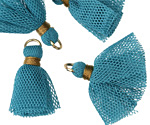 Vintage Turquoise Tulle w/ Gold Binding Tassel & Jump Ring 25-28mm