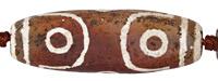 Tibetan (Dzi) Agate (w/ white) Large Matte Barrel Rice 55-60x18-20mm